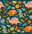 dino paper grunge prehistoric animals seamless pat vector image vector image