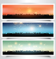 Grassy landscape banners vector image vector image