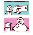 hand drawn cartoon characters - credit card vector image