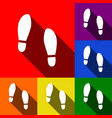 imprint soles shoes sign set of icons vector image