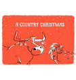 merry country christmas card with bull and sheep vector image vector image