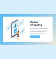 online shopping isometric landing page vector image vector image