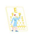 ophthalmologist doctor character test myopia eye vector image
