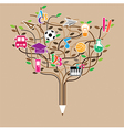 Pencil tree shaped made with school icons set vector image