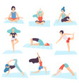 people in yoga positions set men and women vector image vector image