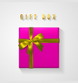 pink gift box with golden bow and ribbon top view vector image vector image