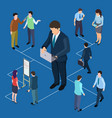 remote management of business and people isometric vector image