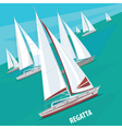 Sailing regatta with lots of boats vector image