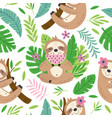 seamless pattern with funny sloth vector image vector image