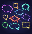 set of colorful neon speech bubbles with space for vector image