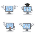 set of monitor character with wink two finger vector image vector image