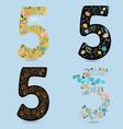 set of vintage floral numbers five vector image vector image