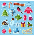 Set of winter stickers Merry Christmas Happy New vector image vector image
