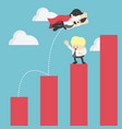 super businessman in red jump bar chart business vector image