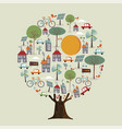 tree made of eco friendly sustainable city vector image vector image