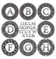 vintage monogram kit patterned letters and frames vector image vector image