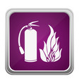 violet square button relief with silhouette fire vector image vector image