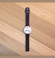 watch on wooden table vector image vector image