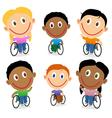 Wheelchair children character pack vector image vector image