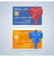 Wrapped gift credit card with ribbon in flat style vector image vector image