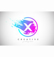 x artistic brush letter logo design in purple