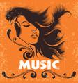 dj girl in headphones music retro poster vector image
