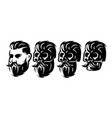 style set with male head and skulls with vector image