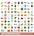 100 playground icons set flat style vector image vector image