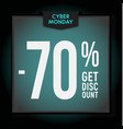 70 percent off holiday discount cyber monday vector image vector image