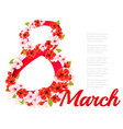 8th march holiday colorful flowers background vector image