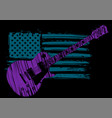an electric guitar with american flag isolated on vector image
