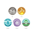 Ayurvedic elements water fire air earth and vector image