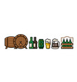 beer icons bottle pub mug with foam can vector image