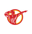 Bodybuilder Flexing Muscles Retro vector image vector image
