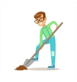 Boy Digging With Shovel Helping In Eco-Friendly vector image vector image