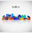 bursa skyline silhouette in colorful geometric vector image vector image