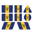 buttons with flag of Barbados vector image vector image