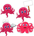 cartoon funny octopus collection set vector image