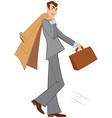 Cartoon man with brown briefcase walking vector image