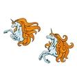 Cartoon unicorn characters vector image