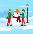 cute elves santa claus helper making funny snowman vector image