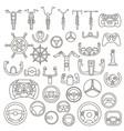 equipment for transport driving set helmet rudder vector image vector image