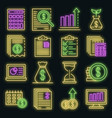 expense report icons set neon vector image vector image