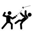 fencing glyph icon vector image vector image