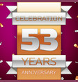 fifty three years anniversary celebration design vector image vector image