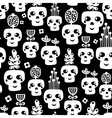Funny skull seamless pattern with flowers vector image vector image