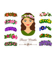 girls flower wreaths vector image vector image