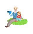 Grandfather And Grandson Reading Book Part Of vector image vector image