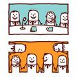 hand drawn cartoon characters - teamwork vector image vector image