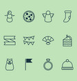 happy icons set with pastry slice pennant hand vector image